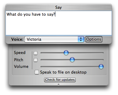 Say - Simple Speech Synthesis for Mac OS X